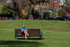 A man is seen sitting alone as he enjoys the warm sunshine in Princes Park during COVID-19 in Melbourne, Australia. Victoria records 5 new cases and three deaths as restrictions are slightly eased. This comes just days after Health Minister Jenny Mikakos resigned over the Hotel Quarantine bungle and as pressure mounts for the Premier, Daniel Andrews, to resign. As the Spring weather sees warmer days, more Melbournians are simply ignoring the rules.