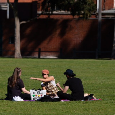 Friends are seen spending time in the park during COVID-19 in Melbourne, Australia. Victoria records 5 new cases and three deaths as restrictions are slightly eased. This comes just days after Health Minister Jenny Mikakos resigned over the Hotel Quarantine bungle and as pressure mounts for the Premier, Daniel Andrews, to resign. As the Spring weather sees warmer days, more Melbournians are simply ignoring the rules.