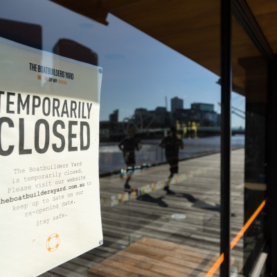 A 'Temporarily Closed' sign is seen at a restaurant in South Wharf. Spring has arrived as Melbournians declare 'crisis' over as they venture out of their homes in huge numbers to enjoy the sun despite Premier Daniel Andrews pleading them to stay indoors during COVID-19 in Melbourne, Australia. Premier Daniel Andrews is said to have struck a deal with the cross benchers allowing his controversial plans for extending the State of Emergency for a further 12 months. This comes as new COVID-19 infections dropped below 100 for the first time since the second wave began, however daily deaths still remain high and show no sign of declining.