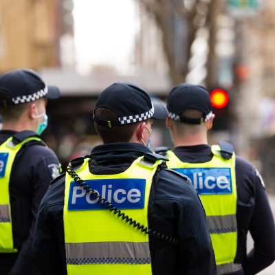 Police are seen in large numbers as we ease into Stage 4 restrictions during COVID-19 in Melbourne, Australia. In just 24 hours, Melbourne will fall into the imposition of the full effect of Daniel Andrews Stage 4 COVID-19 restrictions. Retailers, services, construction and many more will trade for the last time tomorrow before being forced to close for at least the next 6 weeks with many unlikely to ever reopen again. This comes as 439 new cases were uncovered overnight along with 13 deaths all of which were patients at aged care facilities.