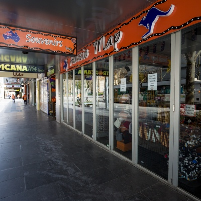 A view of Swanston Street showing all retail shops shut during COVID-19 in Melbourne, Australia. Stage 4 restrictions continue in Melbourne as work permits come into effect at midnight today. This comes as a further 471 new COVID-19 cases were uncovered overnight.