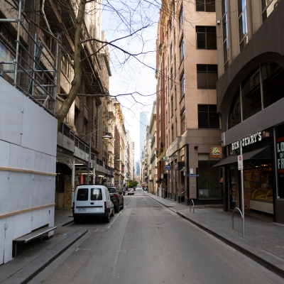 A view of an empty Flinders Lane during COVID-19 in Melbourne, Australia. Stage 4 restrictions continue in Melbourne as work permits come into effect at midnight today. This comes as a further 471 new COVID-19 cases were uncovered overnight.