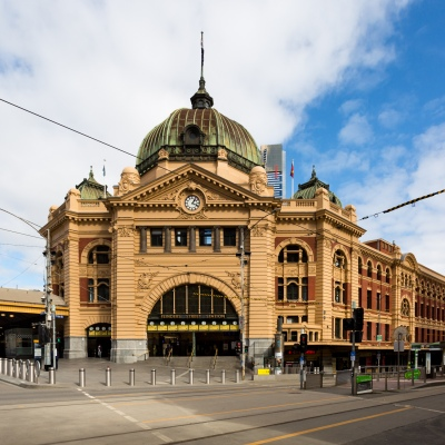 A view of a ghost like Flinders Street Station during COVID-19 in Melbourne, Australia. Stage 4 restrictions continue in Melbourne as work permits come into effect at midnight today. This comes as a further 471 new COVID-19 cases were uncovered overnight.