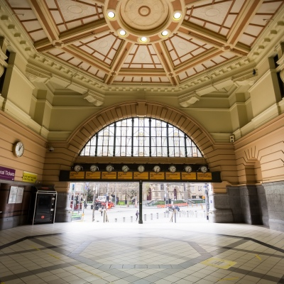 A view of the near empty Flinders Street Station during COVID-19 in Melbourne, Australia. Stage 4 restrictions continue in Melbourne as work permits come into effect at midnight today. This comes as a further 471 new COVID-19 cases were uncovered overnight.