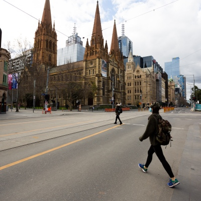 In normal times, thousands of commuters would cross this intersection per hour. The Flinders and Swanston Street intersection is deserted during COVID-19 in Melbourne, Australia. Stage 4 restrictions continue in Melbourne as work permits come into effect at midnight today. This comes as a further 471 new COVID-19 cases were uncovered overnight.