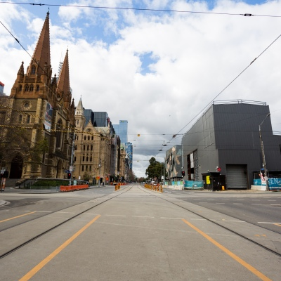 A view of Flinders Street during COVID-19 in Melbourne, Australia. Stage 4 restrictions continue in Melbourne as work permits come into effect at midnight today. This comes as a further 471 new COVID-19 cases were uncovered overnight.