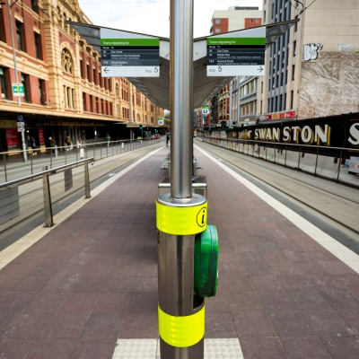 A view of the tram stop on Flinders Street, near the trains station during COVID-19 in Melbourne, Australia. Stage 4 restrictions continue in Melbourne as work permits come into effect at midnight today. This comes as a further 471 new COVID-19 cases were uncovered overnight.