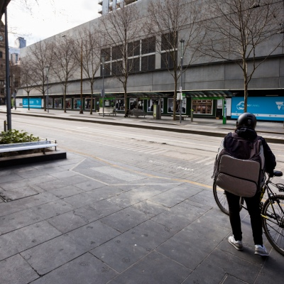 A view of the deserted city streets during COVID-19 in Melbourne, Australia. Stage 4 restrictions continue in Melbourne as work permits come into effect at midnight today. This comes as a further 471 new COVID-19 cases were uncovered overnight.