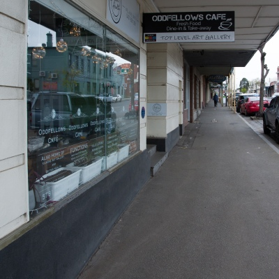 A view of the front of Odd Fellows cafe where a staff member tested positive to Coronavirus leaving the town virtually empty amid concerns of a rapid spread throughout the area during COVID-19 in Kilmore, Australia. An outbreak which started in Chadstone in Melbourne, has spread as far as Benalla. Twenty-eight people linked to the outbreak have now tested positive for COVID-19. There are now two confirmed cases in Kilmore linked with a Melbourne Resident who carried the virus into the town. The person visited the Odd Fellows Cafe in Kilmore which lead to him spreading the virus to a staff member, and a customer. The cafe has been closed for deep cleaning and will remain closed until the 19th October.