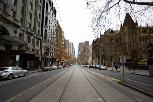 A view of Collins Street during peak hour during COVID-19 in Melbourne, Australia. Stage 4 restrictions continue in Melbourne as life drains away from the city now that work permits are being enforced. Premier Daniel Andrews once again failed to answer questions on his administrations failures that led to over 180 deaths in his state. Victoria recorded a further 450 new COVID-19 infections along with 11 deaths overnight.