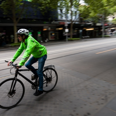 Local's ride through the city during the COVID-19 in Melbourne. With over a week of zero cases in Victoria, Premier Daniel Andrews is expected to make major announcements on Sunday about further easing of restrictions.