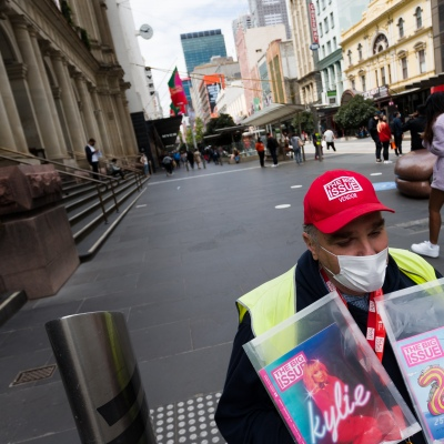 David is seen selling copies of The Big Issue in Bourke Street during the COVID-19 in Melbourne. With over a week of zero cases in Victoria, Premier Daniel Andrews is expected to make major announcements on Sunday about further easing of restrictions.