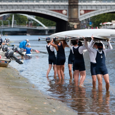 Melbourne Grammar School boys are seen lifting their eight over their heads after rowing training during the COVID-19 in Melbourne. With over a week of zero cases in Victoria, Premier Daniel Andrews is expected to make major announcements on Sunday about further easing of restrictions.