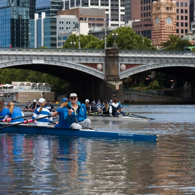 School girls are seen in a coxed four during an introduction to rowing day at the boat sheds during the COVID-19 in Melbourne. With over a week of zero cases in Victoria, Premier Daniel Andrews is expected to make major announcements on Sunday about further easing of restrictions.