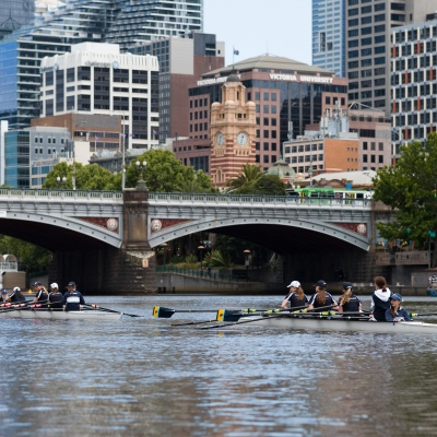 A coxed four is seen during an introduction to rowing day during the COVID-19 in Melbourne. With over a week of zero cases in Victoria, Premier Daniel Andrews is expected to make major announcements on Sunday about further easing of restrictions.