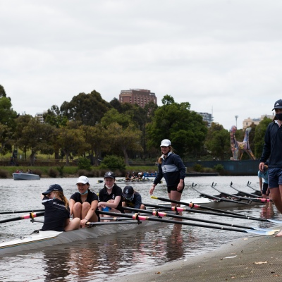 Students try their hand at rowing during an introduction to rowing day held at the boat sheds on the Yarra during the COVID-19 in Melbourne. With over a week of zero cases in Victoria, Premier Daniel Andrews is expected to make major announcements on Sunday about further easing of restrictions.