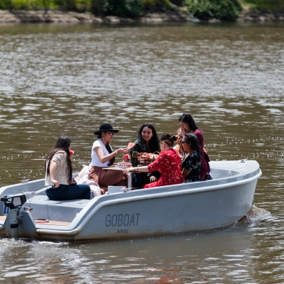 Locals are seen dining on small river cruise boats on The Yarra during the COVID-19 in Melbourne. With over a week of zero cases in Victoria, Premier Daniel Andrews is expected to make major announcements on Sunday about further easing of restrictions.