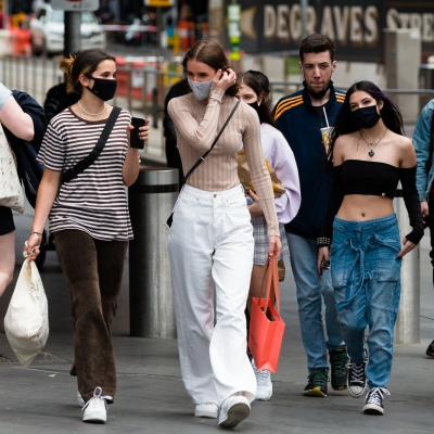 Young woman wearing facemasks are seen in the CBD during the COVID-19 in Melbourne. With over a week of zero cases in Victoria, Premier Daniel Andrews is expected to make major announcements on Sunday about further easing of restrictions.