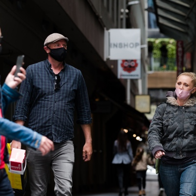 A woman walks in one of Melbourne's famous laneways during the COVID-19 in Melbourne. With over a week of zero cases in Victoria, Premier Daniel Andrews is expected to make major announcements on Sunday about further easing of restrictions.