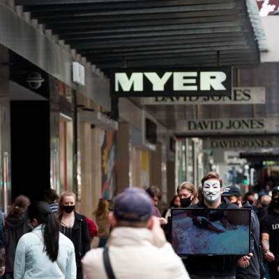 Animal rights activists make a statement in front of Myers as shoppers flock back into the CBD during the COVID-19 in Melbourne. With over a week of zero cases in Victoria, Premier Daniel Andrews is expected to make major announcements on Sunday about further easing of restrictions.