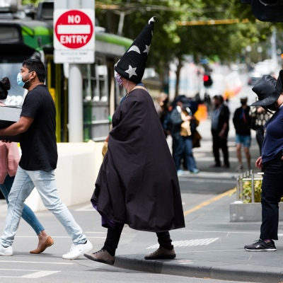 Witches' and Warlocks are seen crossing a street in the CBD during the COVID-19 in Melbourne. With over a week of zero cases in Victoria, Premier Daniel Andrews is expected to make major announcements on Sunday about further easing of restrictions.