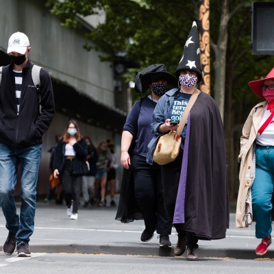 Witches and Warlocks are seen in the CBD during the COVID-19 in Melbourne. With over a week of zero cases in Victoria, Premier Daniel Andrews is expected to make major announcements on Sunday about further easing of restrictions.