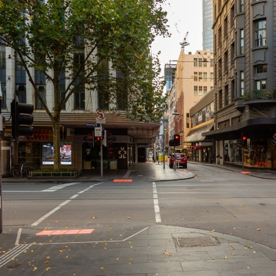 Deserted Melbourne streets in peak hour due to COVID 19 on 08 April, 2020 in Melbourne, Australia. (Photo by Speed Media/Icon Sportswire)