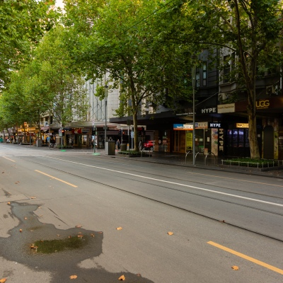 Deserted Melbourne streets during peak hour due to COVID 19 on 08 April, 2020 in Melbourne, Australia. (Photo by Speed Media/Icon Sportswire)