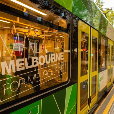 Usually packed Melbourne Trams are empty due to COVID 19 on 08 April, 2020 in Melbourne, Australia. (Photo by Speed Media/Icon Sportswire)