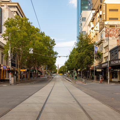 Melbournes normally packed streets are deserted due to COVID 19 on 08 April, 2020 in Melbourne, Australia. (Photo by Speed Media/Icon Sportswire)