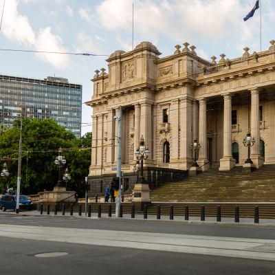 Streets outside of the Victorian Parliament House are empty due to COVID 19 on 08 April, 2020 in Melbourne, Australia. (Photo by Speed Media/Icon Sportswire)