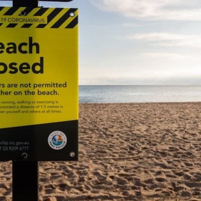 All across Melbourne, beaches are closed due to COVID 19 on 08 April, 2020 in Melbourne, Australia. (Photo by Speed Media/Icon Sportswire)
