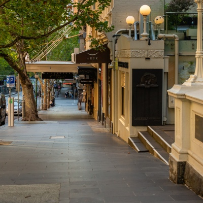 Deserted Melbourne streets due to COVID 19 on 08 April, 2020 in Melbourne, Australia. (Photo by Speed Media/Icon Sportswire)