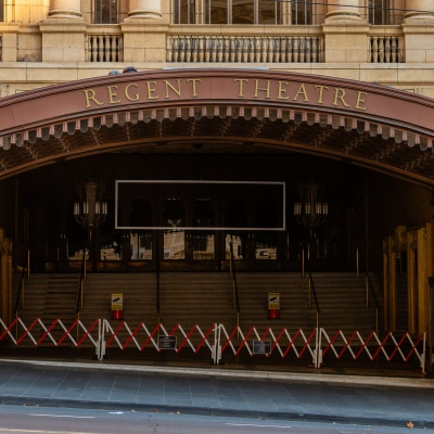 The famous Regent Theatre has closed its doors indefinitely due to COVID 19 on 08 April, 2020 in Melbourne, Australia. (Photo by Speed Media/Icon Sportswire)
