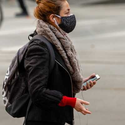 A women wears a facemask due to COVID 19 on 08 April, 2020 in Melbourne, Australia. (Photo by Speed Media/Icon Sportswire)