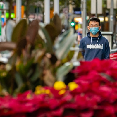 A man wears a facemask in the CBD despite calls from authorities not to, due to COVID 19 on 08 April, 2020 in Melbourne, Australia. (Photo by Speed Media/Icon Sportswire)
