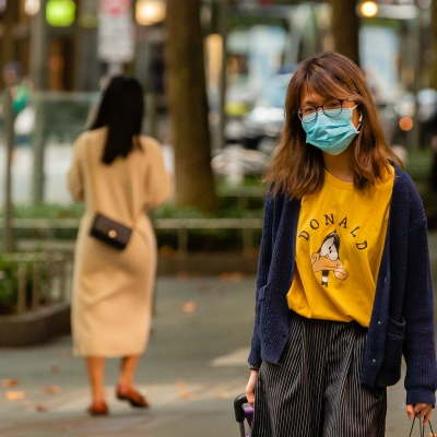 A woman wears a facemask in the CBD despite calls from authorities not to, due to COVID 19 on 08 April, 2020 in Melbourne, Australia. (Photo by Speed Media/Icon Sportswire)