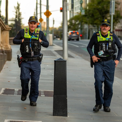 Police patrol Melbourne's empty streets due to COVID 19 on 08 April, 2020 in Melbourne, Australia. (Photo by Speed Media/Icon Sportswire)