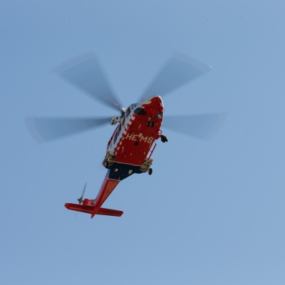 Air Ambulance approaches a hospital amid COVID 19 on 09 April, 2020 in Melbourne, Australia. (Photo by Speed Media/Icon Sportswire)