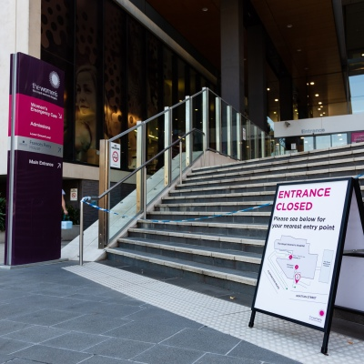 Entry to the Royal Women's Hospital closed due to COVID 19 on 09 April, 2020 in Melbourne, Australia. (Photo by Speed Media/Icon Sportswire)