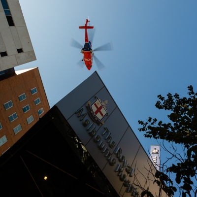 The Air Ambulance arrives at the Royal Melbourne Hospital amid COVID 19 on 09 April, 2020 in Melbourne, Australia. (Photo by Speed Media/Icon Sportswire)