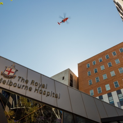 A medical helicopter flies high above the Royal Melbourne Hospital due to COVID 19 on 09 April, 2020 in Melbourne, Australia. (Photo by Speed Media/Icon Sportswire)
