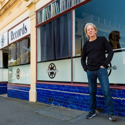 Paul Cook standing outside of his record store in North Melbourne, Heartland Records, which closed on the 24 March due to COVID 19 on 09 April, 2020 in Melbourne, Australia. (Photo by Speed Media/Icon Sportswire)