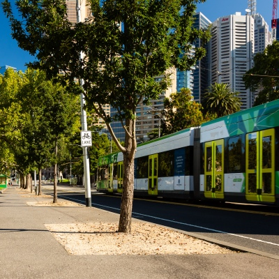 AS heavier restrictions are applied, the streets in Melbourne are empty, only trams still operate due to COVID 19 on 09 April, 2020 in Melbourne, Australia. (Photo by Speed Media/Icon Sportswire)