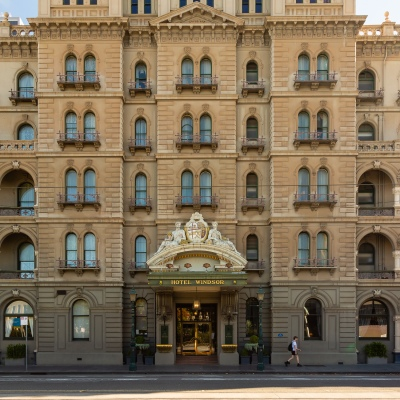 The iconic Hotel Windsor looks desolate due to COVID 19 on 09 April, 2020 in Melbourne, Australia. (Photo by Speed Media/Icon Sportswire)