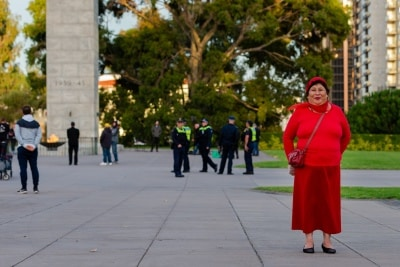 MELBOURNE, AUSTRALIA - APRIL 25: Eve was one of a small crowd that paid their respect to our fallen after the Dawn Service at the Shrine of Remembrance  during COVID 19 on ANZAC Day 25 April, 2020 in Melbourne, Australia. (Photo by Speed Media/Icon Sportswire)