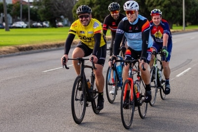 MELBOURNE, AUSTRALIA - APRIL 25: Cyclists ride along Beaconsfield Parade during COVID 19 on ANZAC Day 25 April, 2020 in Melbourne, Australia. (Photo by Speed Media/Icon Sportswire)