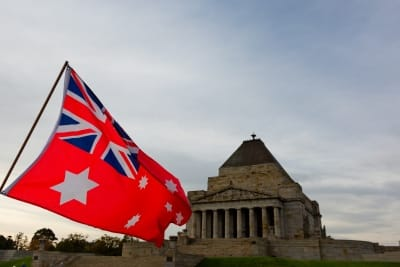 MELBOURNE, AUSTRALIA - APRIL 25: The Australian Red Ensign flag flies high in front of the Shrine of Remembrance during COVID 19 on ANZAC Day 25 April, 2020 in Melbourne, Australia. (Photo by Speed Media/Icon Sportswire)