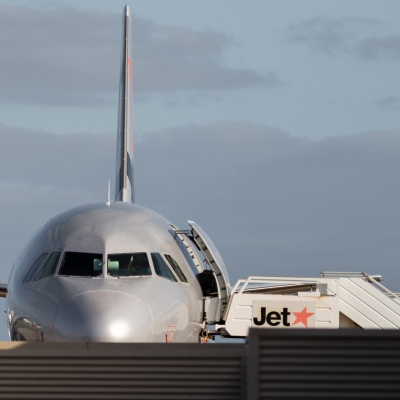 MELBOURNE, AUSTRALIA - APRIL 27: A Jetstar domestic flight arrives at Avalon Airport during COVID 19 on 27 April, 2020 in Melbourne, Australia. (Photo by Speed Media/Icon Sportswire)