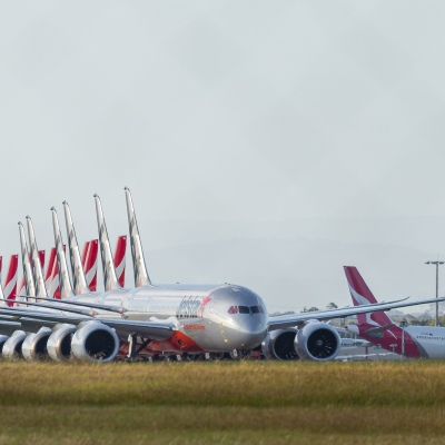 MELBOURNE, AUSTRALIA - APRIL 27: Amid an unprecedented decline in air travel due to COVID 19 Qantas and Jetstar are having to ground their aircraft. Jetstar and Qantas aircraft stowed at Avalon Airport on 27 April, 2020 in Melbourne, Australia. (Photo by Speed Media/Icon Sportswire)